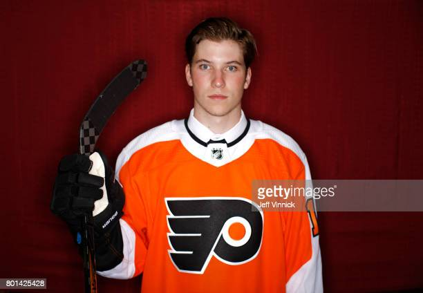 Nolan Patrick second overall pick of the Philadelphia Flyers poses for a portrait during Round One of the 2017 NHL Draft at United Center on June 23...