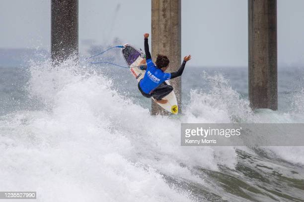 Nolan Rapoza of the USA surfing in the Semifinal of the US Open of Surfing Huntington Beach presented by Shiseido on September 26, 2021 at Huntington...