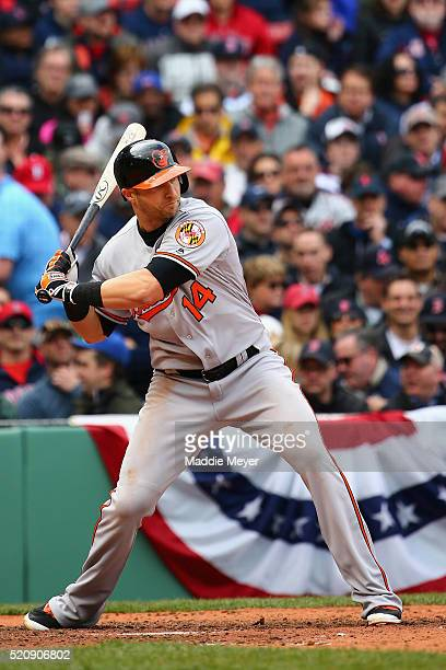 Nolan Reimold of the Baltimore Orioles at bat against the Boston Red Sox during the sixth inning of the Red Sox home opener at Fenway Park on April...