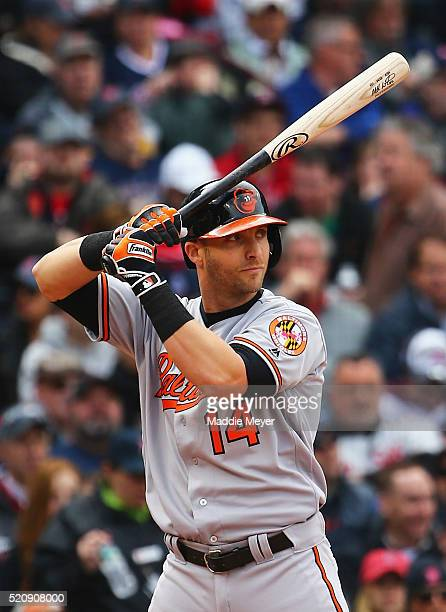 Nolan Reimold of the Baltimore Orioles at bat during the fourth inning of the Red Sox home opener at Fenway Park on April 11 2016 in Boston...