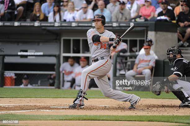Nolan Reimold of the Baltimore Orioles bats against the Chicago White Sox on July 18 2009 at US Cellular Field in Chicago Illinois The White Sox...