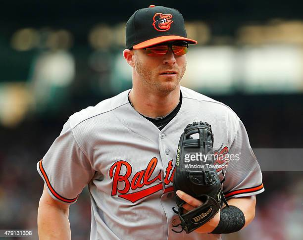 Nolan Reimold of the Baltimore Orioles during the fourth inning in a game against the Boston Red Sox at Fenway Park on June 25 2015 in Boston...