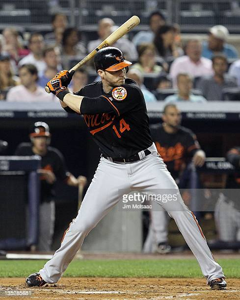 Nolan Reimold of the Baltimore Orioles in action against the New York Yankees at Yankee Stadium on July 29 2011 in the Bronx borough of New York City...