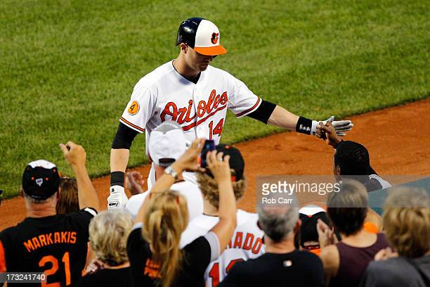 Nolan Reimold of the Baltimore Orioles is congratulated after hitting a three RBI home run against the Texas Rangers during the fourth inning at...