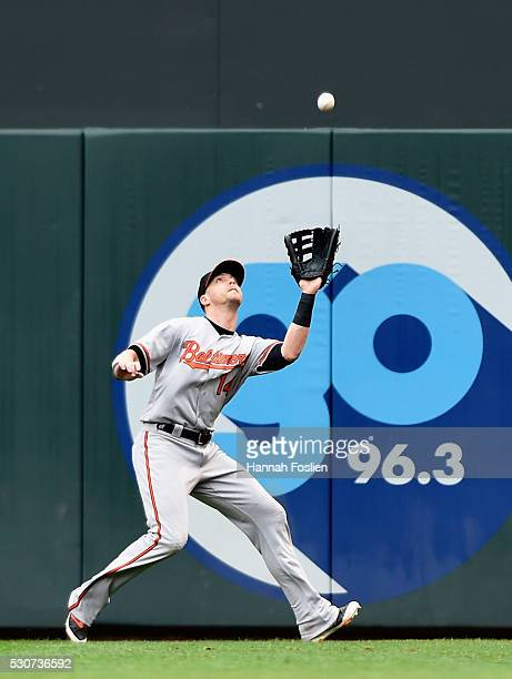 Nolan Reimold of the Baltimore Orioles makes a catch of a ball hit by Miguel Sano of the Minnesota Twins during the sixth inning of the game on May...