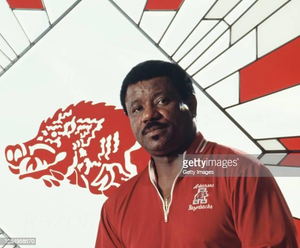 Nolan Richardson, Head Coach for the University of Arkansas Razorbacks men's basketball team poses for a portrait during the 1994/1995 NCAA Big Ten...