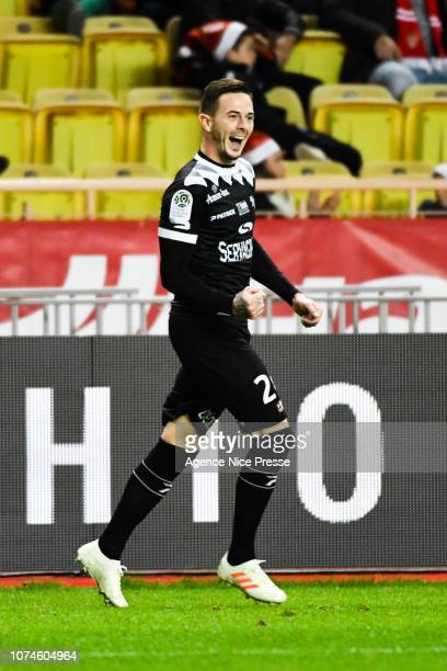 Nolan Roux of Guingamp celebrate his goal during the Ligue 1 match between Monaco and Guingamp at Stade Louis II on December 22 2018 in Monaco Monaco