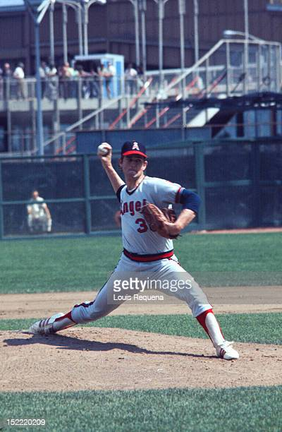 Nolan Ryan of the California Angels pitches during an American League game circa 1974 in an unspecified location.