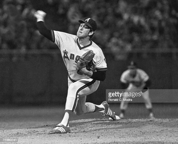 Nolan Ryan of the California Angels pitching at County Stadium in 1978 in Milwaukee, Wisconsin..
