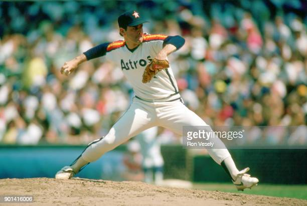 Nolan Ryan of the Houston Astros pitches during an MLB game against the Chicago Cubs at Wrigley Field in Chicago Illinois during the 1988 season