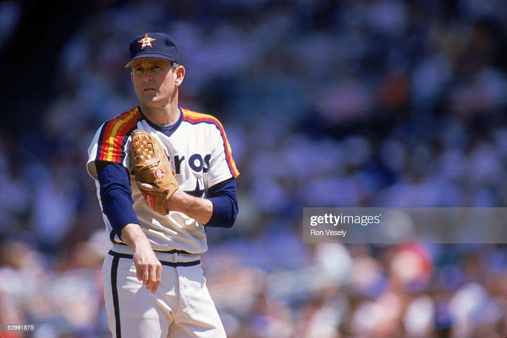 Nolan Ryan of the Houston Astros pitches during an MLB game at Wrigley Field in Chicago, Illinios. Ryan played for the Houston Astros from 1980-1988.