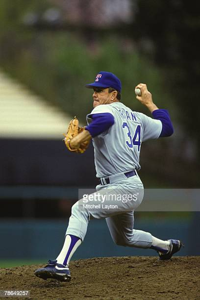 Nolan Ryan of the Texas Rangers pitches during a baseball game against the Baltimore Orioles on June 1 1991 at Memorial Stadium in Baltimore Maryland