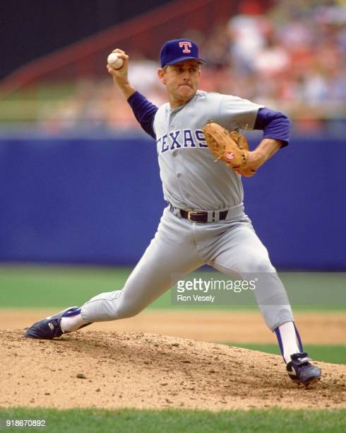 Nolan Ryan of the Texas Rangers pitches during an MLB game against the Milwaukee Brewers at County Stadium in Milwaukee Wisconsin during the 1992...