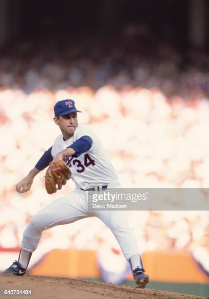 Nolan Ryan of the Texas Rangers pitches in the Major League Baseball AllStar Game on July 11 1989 at Anaheim Stadium in Anaheim California
