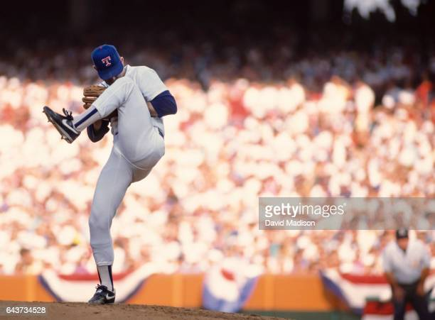 Nolan Ryan of the Texas Rangers winds up before throwing a pitch in the Major League Baseball AllStar Game on July 11 1989 at Anaheim Stadium in...