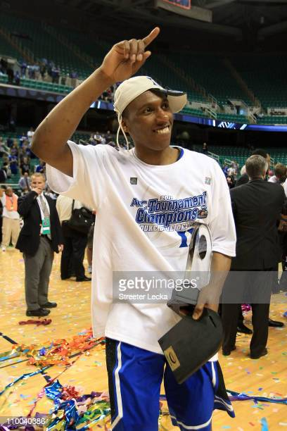 Nolan Smith of the Duke Blue Devils celebrates after being named MVP and defeating the North Carolina Tar Heels 75-58 in the championship game of the...