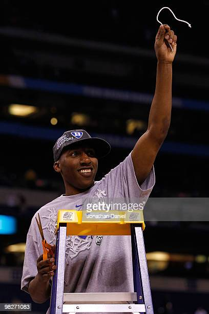 Nolan Smith of the Duke Blue Devils celebrates after he cut down a piece of the net following their 6159 win against the Butler Bulldogs during the...