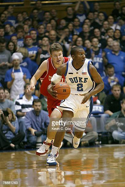 Nolan Smith of the Duke Blue Devils moves the ball during the college basketball game against the Cornell Big Red at Cameron Indoor Stadium on...