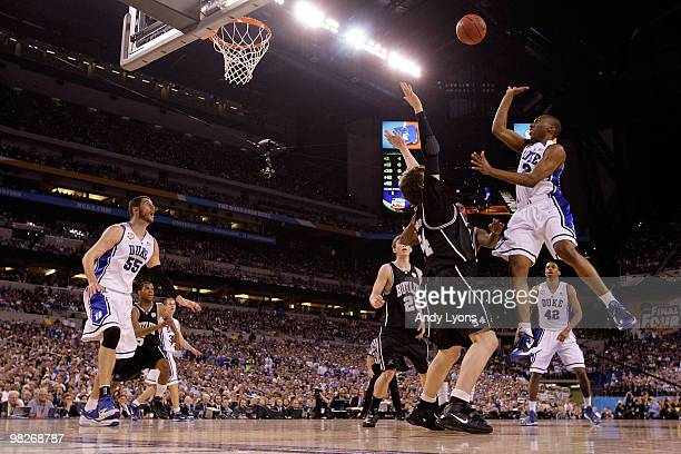 Nolan Smith of the Duke Blue Devils shoots over Matt Howard of the Butler Bulldogs in the first half during the 2010 NCAA Division I Men's Basketball...