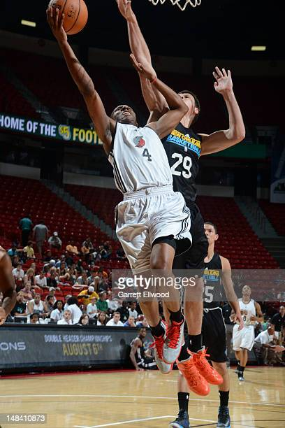 Nolan Smith of the Portland Trail Blazers drives against Darko Planinic of the New Orleans Hornets during NBA Summer League on July 15 2012 at the...