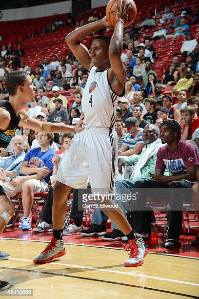 Nolan Smith of the Portland Trail Blazers looks to pass against Austin Rivers of the New Orleans Hornets during NBA Summer League on July 15 2012 at...