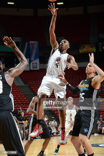 Nolan Smith of the Portland Trail Blazers shoots against Austin Rivers of the New Orleans Hornets during NBA Summer League on July 15 2012 at the...