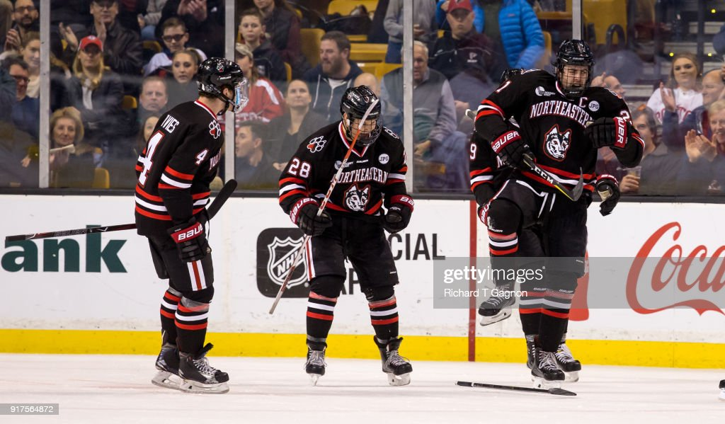 Nolan Stevens #21 of the Northeastern Huskies celebrates his goal against the Boston University Terriers during NCAA hockey in the championship game of the annual Beanpot Hockey Tournament at TD Garden on February 12, 2018 in Boston, Massachusetts.
