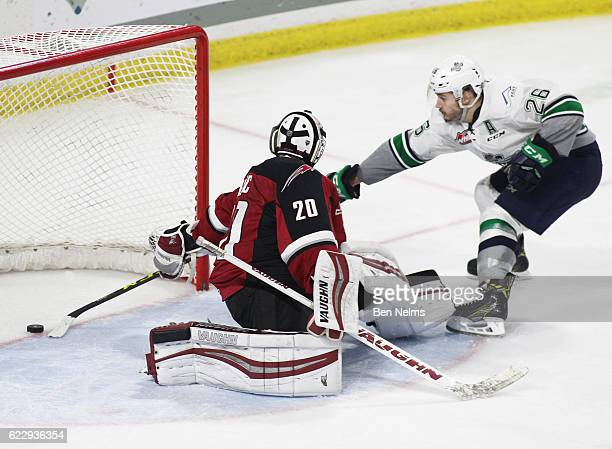Nolan Volcan of the Seattle Thunderbirds scores against goaltender Ryan Kubic of the Vancouver Giants during the third period of their WHL game at...
