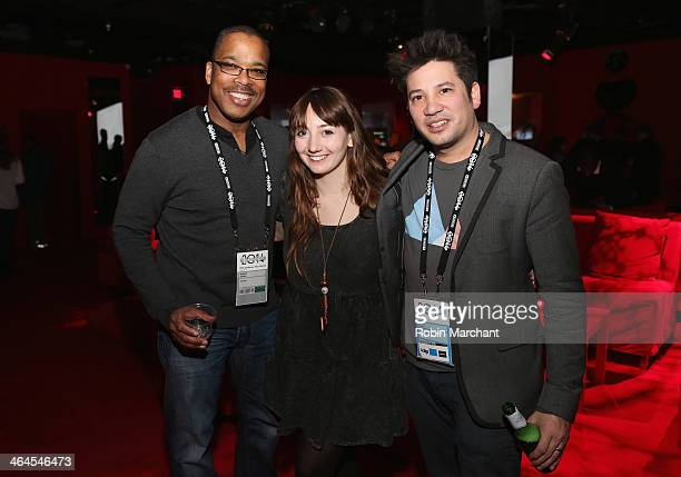 Nolan Walker Jenny Miller and Ricardo Rivera attend the New Frontier Party For Filmmakers at New Frontier during the 2014 Sundance Film Festival on...