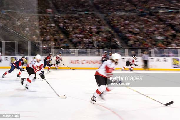 Nolan Yonkman of Canada breaks away during the 2015 Ice Hockey Classic match between the United States of America and Canada at Rod Laver Arena on...
