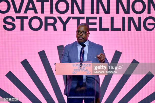 Noland Walker speaks onstage during the 2020 Sundance Film Festival Awards Night Ceremony at Basin Recreation Field House on February 01 2020 in Park...