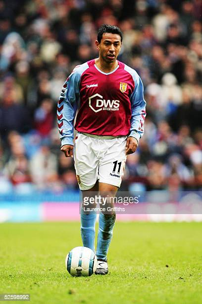 Nolberto Solano of Aston Villa in action during the Barclays Premiership match between Aston Villa and Middlesbrough at Villa Park on March 5, 2005...