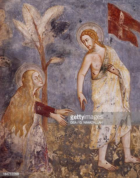 Noli me tangere 14th century fresco from the Master Trecentesco of Sacro Speco School Upper Church of Sacro Speco Monastery Subiaco Italy 14th century