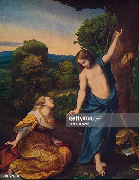 Noli Me Tangere', 1523-1524, . On a road, in the shade of a tree, Christ reveals himself to Mary Magdalene , raising an arm. Noli me tangere, means...