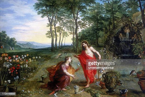 Noli me tangere Oil on wood Private collection Mary Magdalene the first to see the risen Christ in the Garden of Gethsemane Jan Brueghel or Breughel...