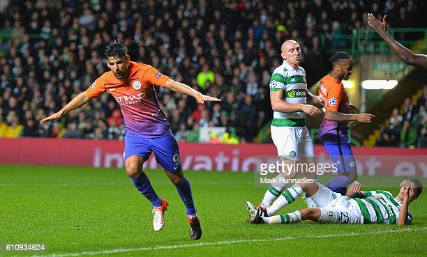 Nolito of Manchester City celebrates after scoring his team's third goal during the UEFA Champions League group C match between Celtic FC and...