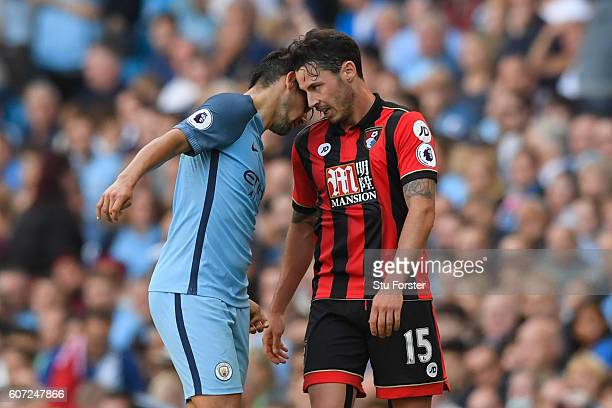 Nolito of Manchester City head butts Adam Smith of AFC Bournemouth during the Premier League match between Manchester City and AFC Bournemouth at the...
