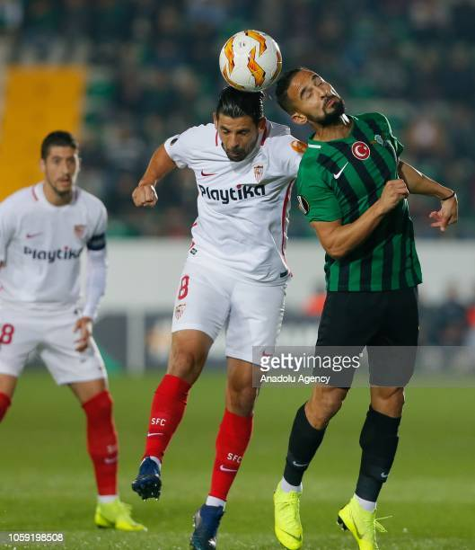 Nolito of Sevilla vies for the ball against Helder Barbosa of Akhisarspor during UEFA Europa League Group J soccer match between Akhisarspor and...