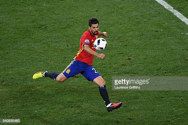 Nolito of Spain scores his sides second goal during the UEFA EURO 2016 Group D match between Spain and Turkey at Allianz Riviera Stadium on June 17,...