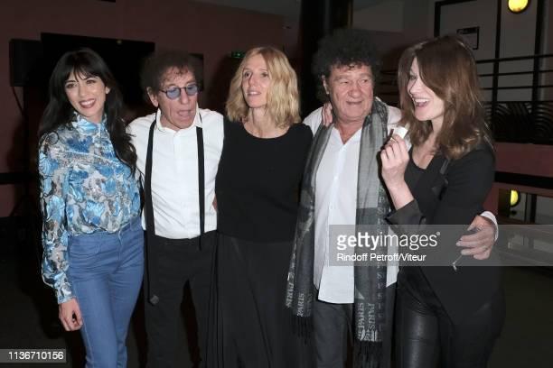 Nolwenn Leroy Alain Souchon Sandrine Kiberlain Robert Charlebois and Carla Bruni Sarkozy attend the Charity Gala against Alzheimer's Disease At...