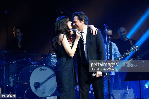 Nolwenn Leroy and Laurent Gerra perform during the Charity Gala against Alzheimer's disease at Salle Pleyel on February 12 2018 in Paris France
