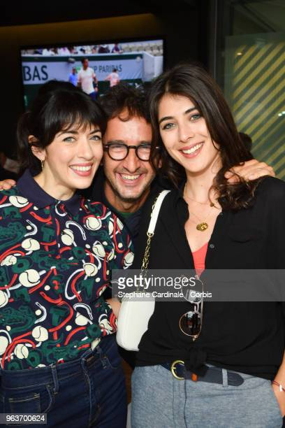 Nolwenn Leroy Cyrille Eldin and Sandrine Calvayrac attend the 2018 French Open Day Four at Roland Garros on May 30 2018 in Paris France