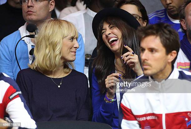 Nolwenn Leroy girlfriend of Captain of France Arnaud Clement attends day one of the Davis Cup tennis final between France and Switzerland at the...