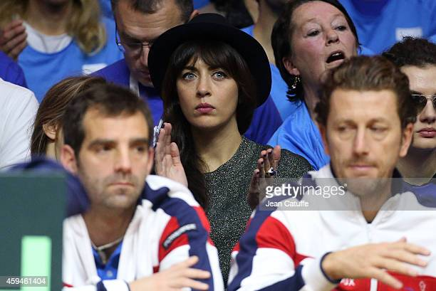 Nolwenn Leroy singer and girlfriend of Arnaud Clement attends day three of the Davis Cup tennis final between France and Switzerland at the Grand...