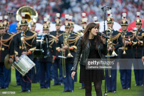 Nolwenn Leroy sings before the French Cup Final match between Stade Rennais FC and EA Guingamp at Stade de France on May 3 2014 in SaintDenis near...