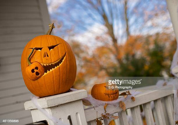 nom nom nom - halloween pumpkin stock photos and pictures