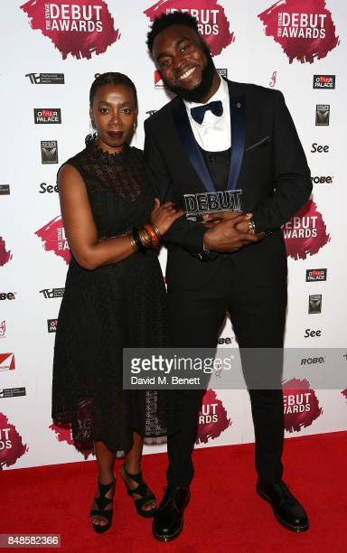 Noma Dumezweni and Abraham Popoola attend the Stage Debut Awards at 8 Northumberland Avenue on September 17 2017 in London England