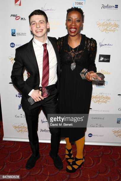 Noma Dumezweni and Anthony Boyle attend The 17th Annual WhatsOnStage Awards at The Prince of Wales Theatre on February 19 2017 in London England