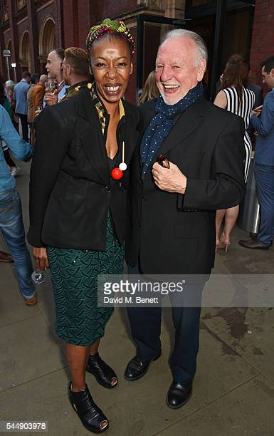 Noma Dumezweni and Kenneth Cranham attend the Olivier Awards Summer Party in celebration of the new exhibition 'Curtain Up' at The VA on July 4 2016...