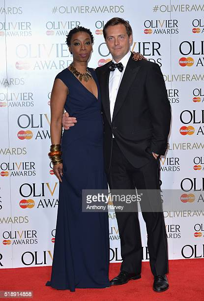 Noma Dumezweni and Stephen Campbell Moore pose in the winners room at The Olivier Awards at The Royal Opera House on April 3 2016 in London England